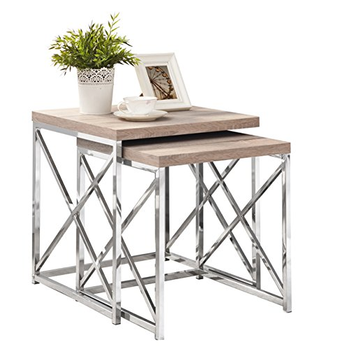 Natural Reclaimed-Look/Chrome Metal 2 Piece Nesting Table Set by Michael Anthony
