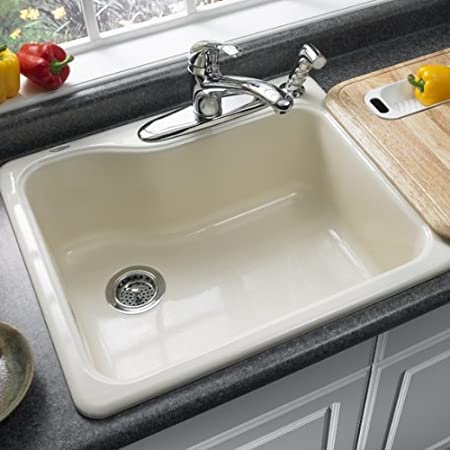 Bon American Standard 7172.804.345 Silhouette 25 Inch Americas Single Bowl  Four Hole Kitchen Sink, Bisque     Amazon.com