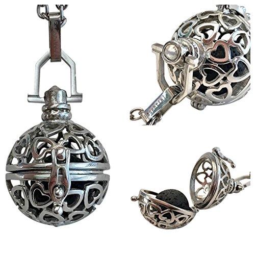 (Diffusing Essentials Premium Heart 316l Stainless Steel Lava Stone Aromatherapy Pendant Locket Essential Oil Diffuser)