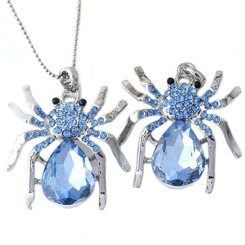 - loinhgeo Women Fashion Silver Plated Blue Rhinestone Spider Charm Pendant for Necklace 1