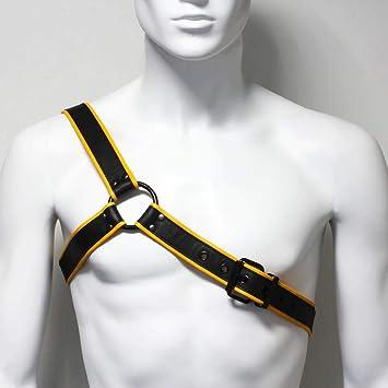 Arnés Hombre Cuero Negro y Amarillo Gladiador - Negro, L: Amazon ...