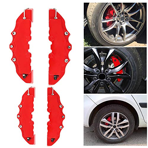 Red EKYAOMEI 2PCS Disc 3D Abs Plastic Trim Brake Caliper Cover For Most Car Front Rear Decorations Kit