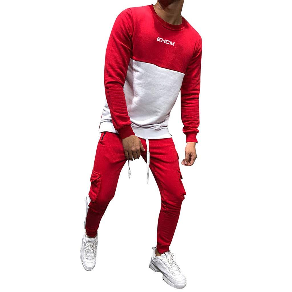 aa481d971e889 Amazon.com  Dreamyth-Mens 2Pcs Men Tracksuit Packwork Graduated Slim Long  Sleeve Sweatshirt Top Pants Sets  Sports   Outdoors