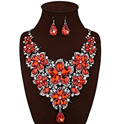 JewelryLove Women\'s Maxi Flower Necklace Pendants Colorful Crystal Statement Necklaces and Earrings Collar Sets (Red)