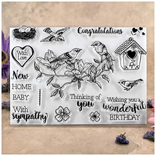Kwan Crafts Bird Thinking of you Birthday Congratulations New Home Birdcage With Sympathy Clear Stamps for Card Making Decoration and DIY Scrapbooking