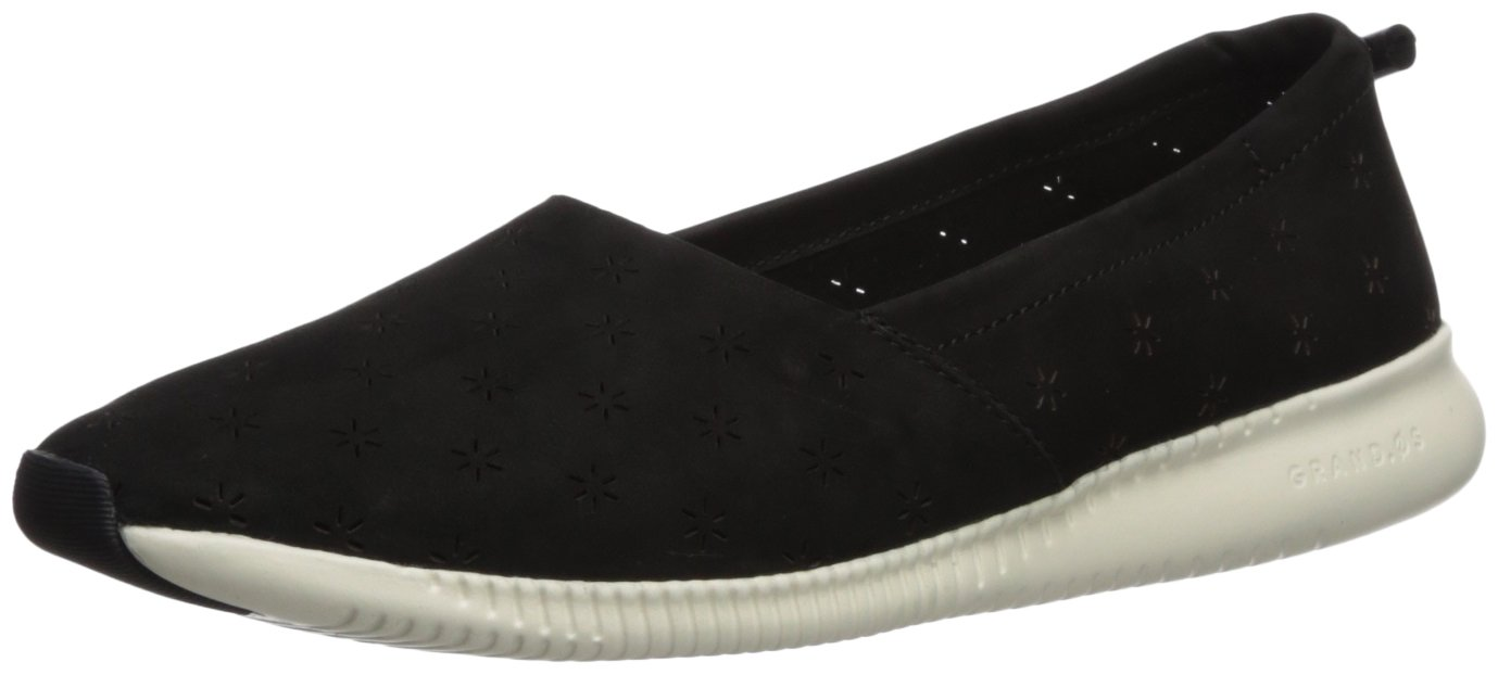 Cole Haan Women's Studiogrand Perf Slip On Loafer, Black Perforated Nubuck, 6 B US