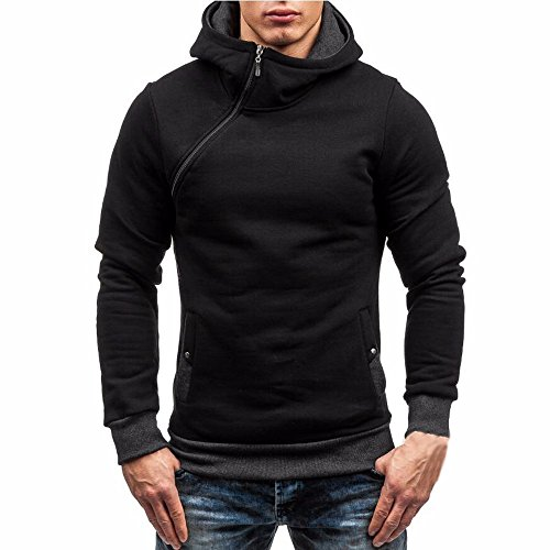 (Ximandi Clearance,Men's Solid High Zipper Collar Hoodies w Button Pockets Hooded Sweatshirt)
