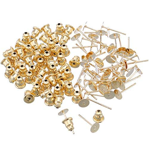 by LuLyLu LuLyLu 100 Pieces Stainless Steel Bullet Clutch Earrings Safety Backs and Blank Earring Pin Studs Findings Posts Gold
