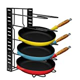 Homdox Cookware Organizer Rack, Pantry Pan Cabinet Organizer, Kitchen Cabinet Pot Lid Holders with Adjustable Dividers Countertop