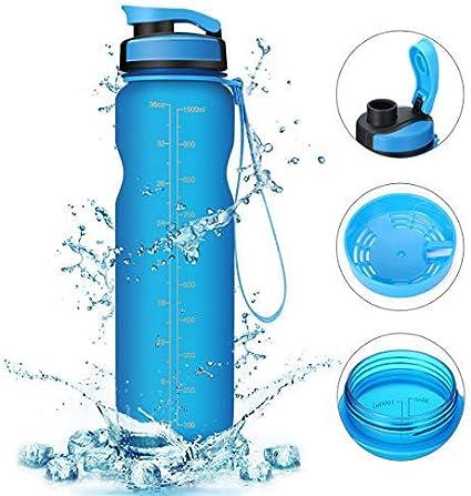 MSDADA Sports Water Bottle 36Oz//1L Drinking BPA Free Flip Top Leak Proof Non Tox