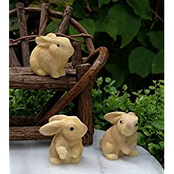NEW~ Set of 3 Mini Resin Rabbits Miniature Dollhouse FAIRY GARDEN Accessories
