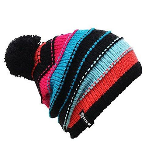 Beanies,UPLOTER Warm Winter Women Men Knit Ski Crochet Slouch Hat Cap (Blackhawk Liner Glove)