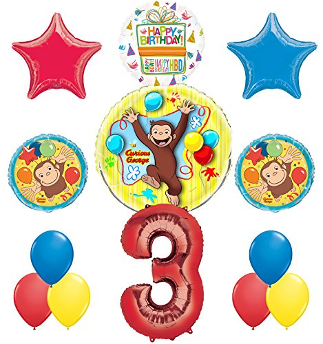 Curious George 3rd Birthday Party Supplies Balloon Bouquet Decorations]()