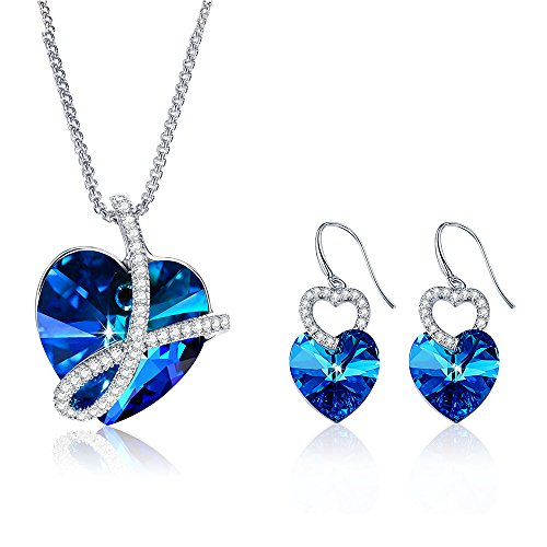 Special Outlook Love Heart Crystal Necklace Earrings Jewelry Set - Blue Swarovski Crystal Pendant Drop Dangle Earrings for Women and Girls