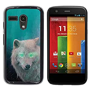 Design for Girls Plastic Cover Case FOR Motorola Moto G 1 1ST Gen White Wolf Green Eyes Alien Forest Magic OBBA