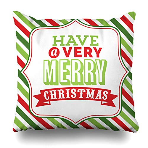 KJONG Christmas Word Art with Merry Christmas Fancy Frame Colorful Christmas Theme Square DecorativePillow Case 16 x 16inch Zippered Pillow Cover for Bedroom Living Room(Two Sides Print) -