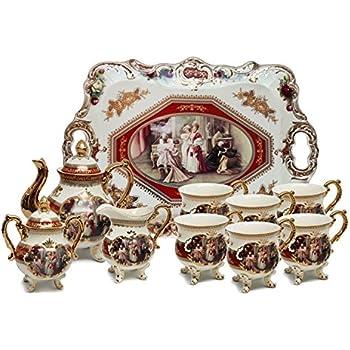 Amazon.com | 12-Pc. HQ White Porcelain Vintage Tea Cup Set ...