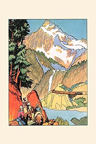 Drawing from a travel ad to induce people to visit Yellowstone park through Gallatin Gateway Showing the horseback route as the shortest and the train as the most modern Poster Print by unknown (24 x (Best Route Through Yellowstone)