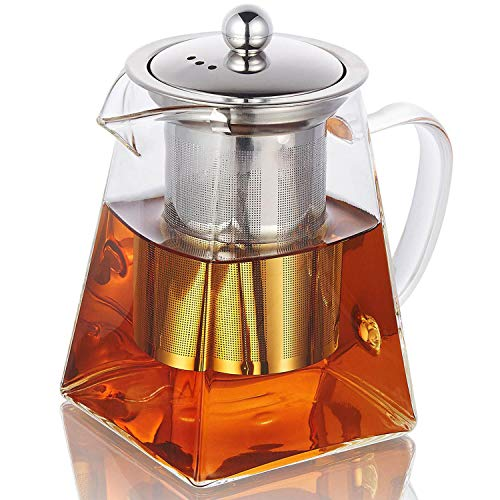 CoreLife Glass Teapot with Infuser/Removable Steel Strainer Tea Maker 750ML Kettle for Loose Tea (25 - Square Teapot Steel Stainless