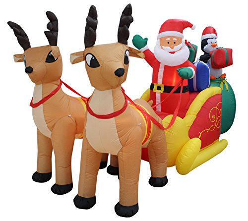 13 Foot Long Lighted Christmas Inflatable Santa Claus And Penguin With Gift In S