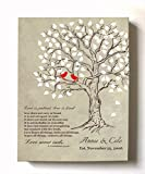 MuralMax - Personalized Family Tree & Lovebirds, Stretched Canvas Wall Art, Make Your Wedding & Anniversary Gifts Memorable, Unique Decor, Color Beige # 1, Size 24 x 30 - 30-DAY