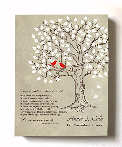 (MuralMax - Personalized Anniversary Family Tree Artwork - Love is Patient Love is Kind Bible Verse - Unique Wedding & Housewarming Canvas Wall Decor Gifts - Color Beige # 1 Size 16 x 20)