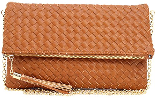 Faux Leather Clutch - Faux leather women's woven folding clutch with tassel zipper puller and chain cross body strap (LIGHT BROWN)