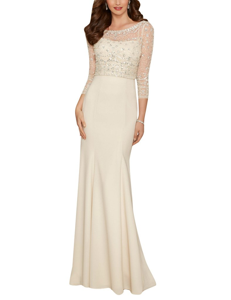 Cdress Sequins Beads Sheer Long Sleeves Chiffon Prom Evening Dresses Party Gowns Beige US 12