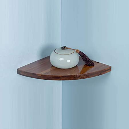 Estantería esquinera flotante de pared, bambú, rústica, para baño, sala de estar, dormitorio: Amazon.es: Hogar