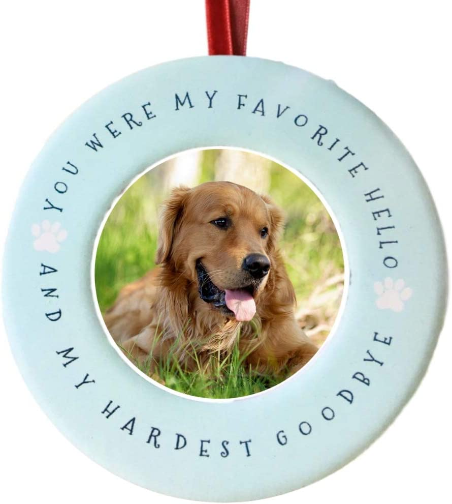 BANBERRY DESIGNS Pet Memorial Picture Christmas Ornament - Your were My Favorite Hello and My Hardest Goodbye - Ceramic Photo Ornament and/or Small Desktop Frame - Sympathy Condolence Dog Cat