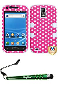 FoxyCase(TM) FREE stylus AND SAMSUNG T989 (Galaxy S II) Dots(Pink white) White TUFF Hybrid Phone Protector Cover cas couverture