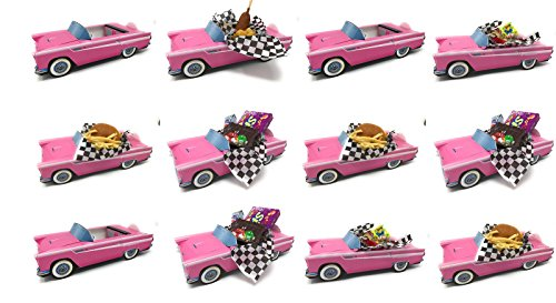 Dunwoody Specialty Sales - Classic Car Sets 12 Classic Car Party Food Boxes - Pink Birthday Set (For Sale Centerpieces Party)