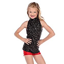 Black Sequin Dance Costume Tank Top For Kids