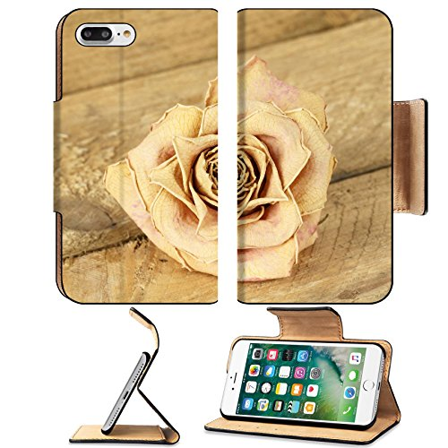Luxlady Premium Apple iPhone 7 Plus Flip Pu Leather Wallet Case iPhone7 Plus 34772489 Dried flower of rose shown on the background of stained plank