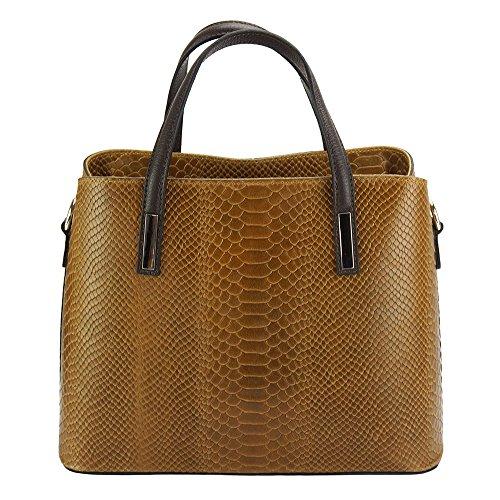 Impreso 7005 De Bolso Vanessa Cuero Leather Florence En Claro Marron Market Mano z8wF4