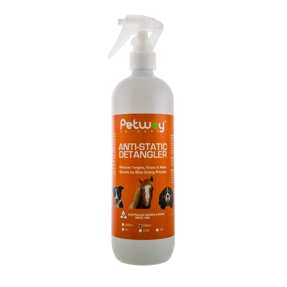PETWAY Petcare Anti-Static Detangler - Dematting Spray for Dogs, Pet Detangling Spray, Free of Phosphates, Parabens & Enzymes - Tangle Remover, Daily Grooming Aid, Soap & Fragrance Free (500) by PETWAY