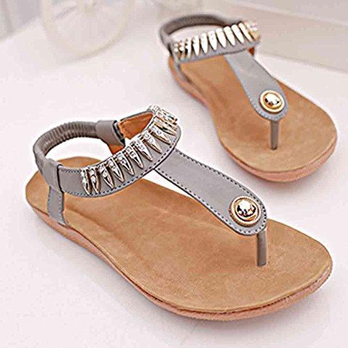 SKY Comfortable to wear it !!!Zapatos planos de mujer Bohemia Sandalias de ocio Peep-Toe Zapatos al aire libre Gris