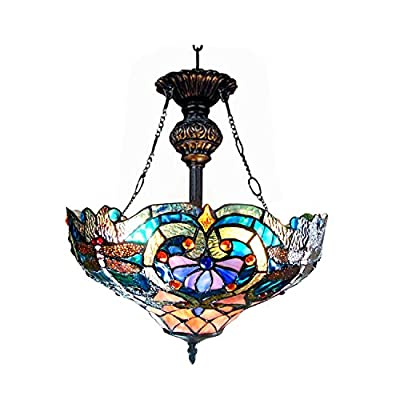 "Chloe Lighting CH1B715BD17-UH2 Lydia Tiffany Style Victorian 2-Light Inverted Ceiling Pendant Fixture with 17"" Shade"