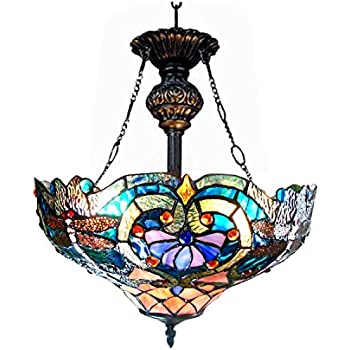 """Chloe Lighting CH1B715BD17-UH2 Lydia Tiffany Style Victorian 2-Light Inverted Ceiling Pendant Fixture with 17"""" Shade"""