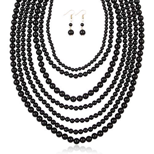 - RIAH FASHION Multi Layer Beaded Bubble Statement Necklace - Round Ball Chunky Drape Bib Collar 7 Strands (Black)
