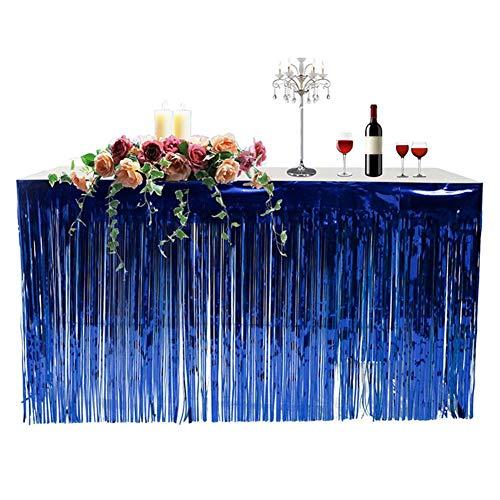 (Taimot Fringed Table Skirt Hawaiian Party Decoration, 1-Pack Metallic Foil Plastic Celebration Curtain Holiday)