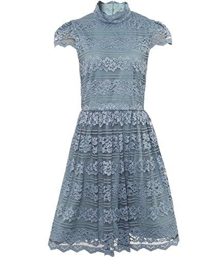 Alice and Olivia Women's Maureen High Neck Lace Dress Light Blue US 10
