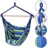 nooshi Blue &Green Deluxe Hammock Rope Chair Porch Yard Tree Hanging Air Swing Outdoor