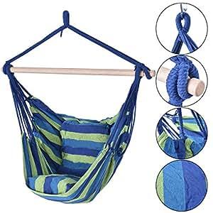 eight24hours azul & verde Deluxe–Cuerda hamaca Silla porche Patio Árbol para colgar Air Swing al aire libre