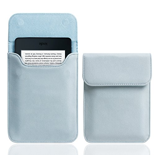 WALNEW 6 Inch Kindle Sleeve for All-New Kindle 2019/Kindle Paperwhite (Included 2018 Version)/Kindle Voyage/Kindle (8th Gen, 2016)/Kindle 4/5/Kindle Touch Protective Pouch Bag Case Cover, Light Blue