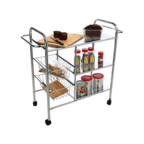 Mind Reader 3CAR2BASK-SIL 3-Tier Kitchen/Utility Cart with 2 Shelves, 2 Baskets For Extra Storage, Handles for Hanging Towels