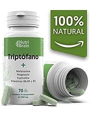 Natural Triptófano con Melatonina y Espirulina | 70 Comprimidos | Fórmula natural para mejorar el sueño, reducir la ansiedad, aumentar la energía, la concentración y el bienestar