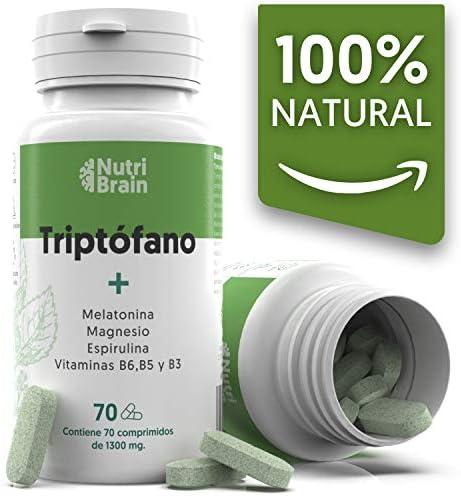 Natural Triptófano con Melatonina y Espirulina para mejorar el sueño, reducir la ansiedad, aumentar la energía, la concentración y el bienestar - 70 Comprimidos: Amazon.es: Salud y cuidado personal