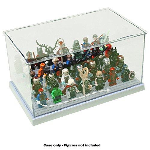 Mocatrend Acrylic Display Case/Box Show Case for Lego Minifigure with 3 Steps (Grey Base)