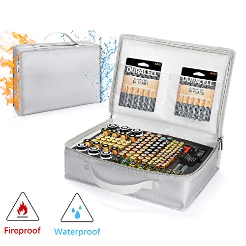Vemingo Battery Organizer Storage Carrying case Waterproof Fireproof Bag Holds Hard 148 Batteries – C D 9V AA AAA Lithium 3V(Batteries and Battery Tester are Not Included)